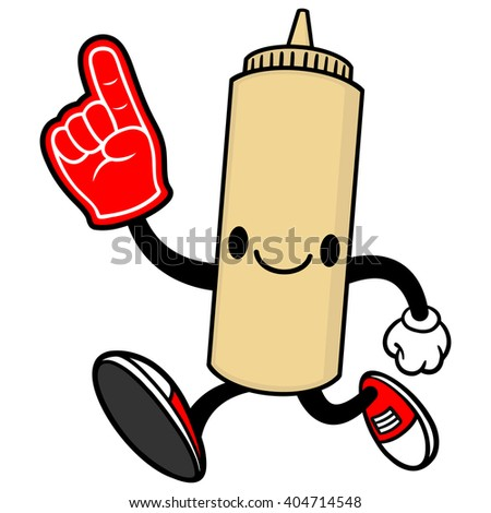 Japanese Mayo Running with a Foam Finger - stock vector