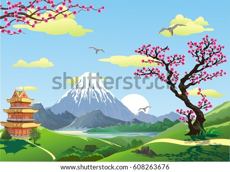 Japanese Pagoda At The Foot Of Mountain Cherry Blossoms Sunrise Over