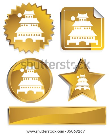 japanese pagoda icon gold - stock vector