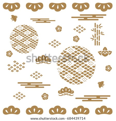 Japanese pattern background vector. Gold geometric shape with Graphic element such as bush, bamboo, flower, wave for apply to poster, cover page, template, card.
