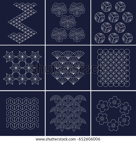 Japanese Pattern Sashiko Form Decorative Reinforcement Stock Vector