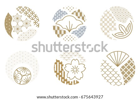 Japanese pattern vector. Gold geometric icon.