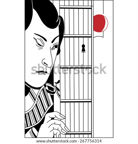 Japanese peeping through the keyhole. Vintage hand draw art. Set of illustrations - stock vector