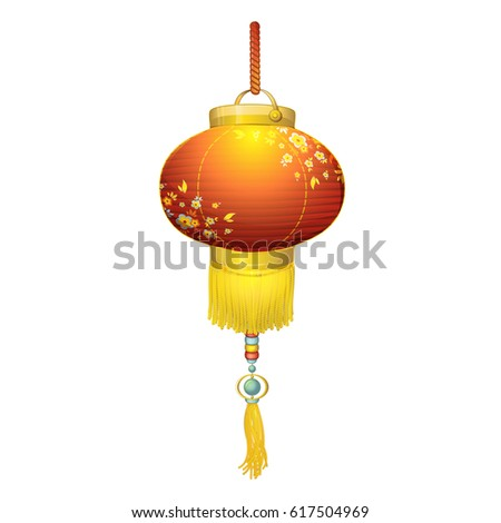 Japanese Round Paper Lantern Red With A Pattern Of Flowers Pendant Gold Fringe
