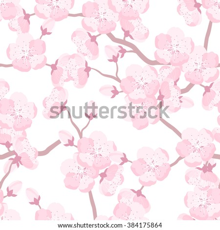 Japanese sakura seamless pattern with stylized flowers. Background made without clipping mask. Easy to use for backdrop, textile, wrapping paper. - stock vector