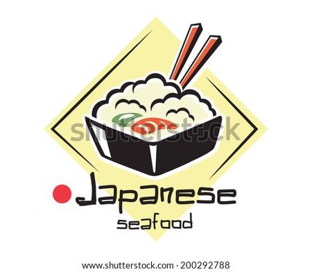 Japanese seafood with chopsticks for eastern food logo symbol or emblem design - stock vector