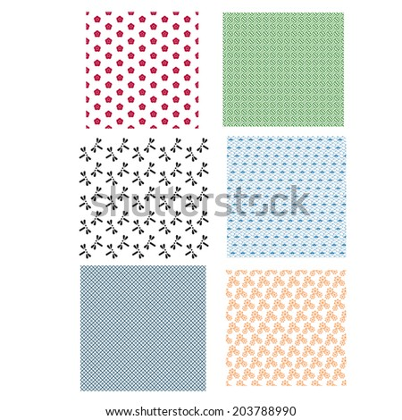 Japanese Seamless Pattern Color - stock vector