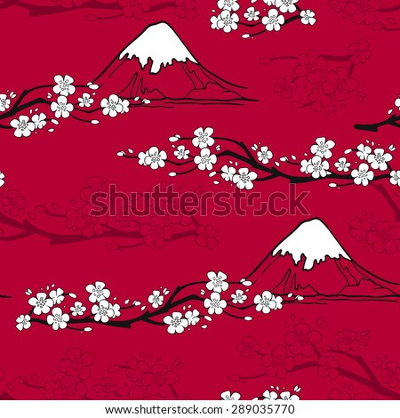 Japanese seamless pattern with sakura blossoms and fuji mountains vector illustration - stock vector
