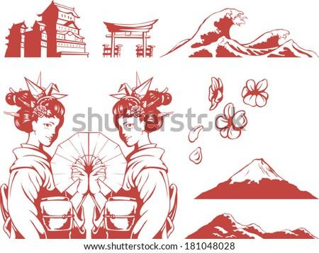Japanese Set - Girl in Kimono, Sakura, Mountain, Castle - stock vector