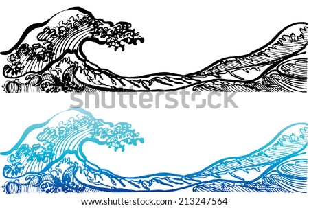 Japanese style waves. - stock vector