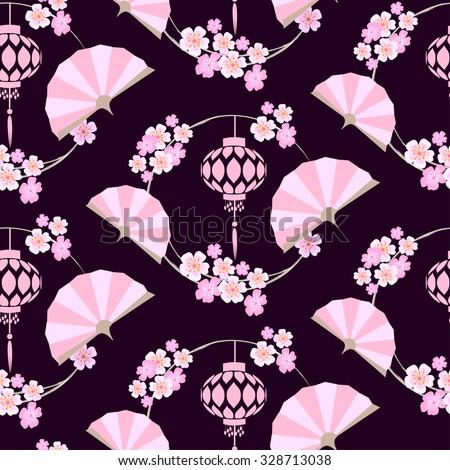 Japanese stylized pattern with pink fans, lanterns and sakura flowers. Paper lanterns hanging on round Sakura branches.