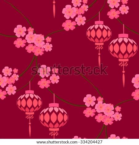 Japanese stylized pattern with pink lanterns and sakura flowers. Paper lanterns hanging on sakura branches.