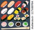 Japanese Sushi Collection Set - stock photo