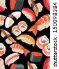 Japanese Sushi Seamless Pattern vector - stock