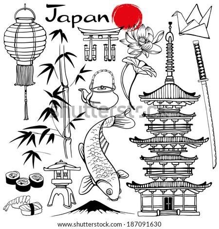 Japanese symbols set - stock vector