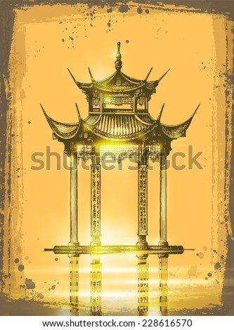 Japanese temple. Romantic Sunset with japan gate - stock vector