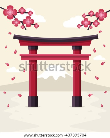 Japanese Tori Gate, Sakura Blossom and Mount Fuji at Background. Flat Design Style. - stock vector