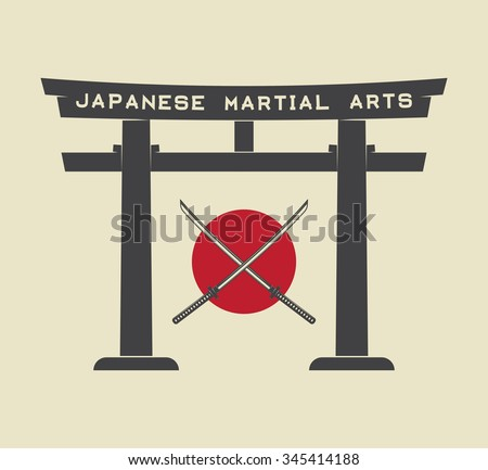Japanese torii gate with japan flag and katana in vintage style. Vector Illustration - stock vector