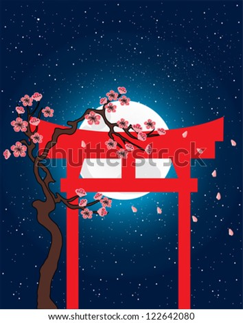 Japanese torii, spring, vector image - stock vector