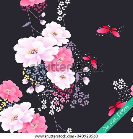 Japanese traditional floral kimono seamless pattern. Vector illustration - stock vector