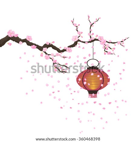 Japanese traditional lantern hanging on a blooming sakura branch