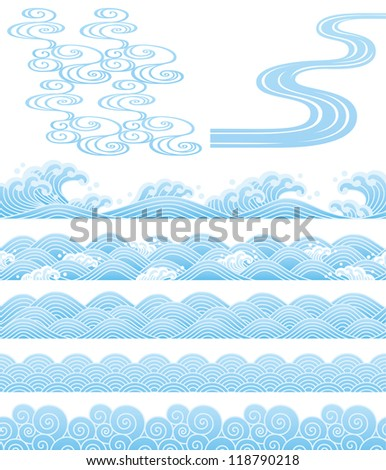 Japanese traditional wave - stock vector