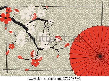 Japanese umbrella and Japanese cherry - Sakura  - stock vector