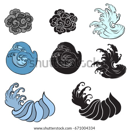 hand drawn wave tattoo designbackground japanese stock vector 645326812 shutterstock. Black Bedroom Furniture Sets. Home Design Ideas