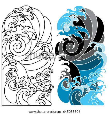 japanese wave tattoo ocean tattoo arm stock vector 645055306 shutterstock. Black Bedroom Furniture Sets. Home Design Ideas