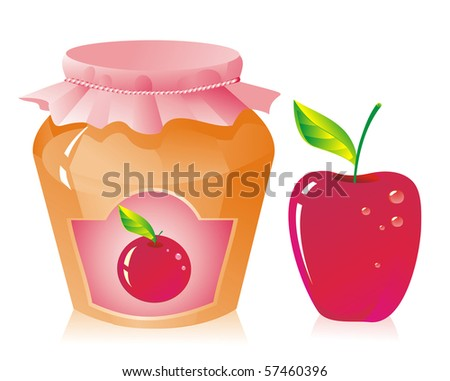 Jar of apple jam and fresh apple - stock vector