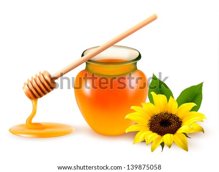 Jar of honey and a dipstick with yellow flower. Vector illustration. - stock vector