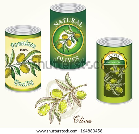 Jar of olives registration options. - stock vector