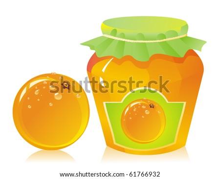 jar of orange marmalade and fresh orange - stock vector