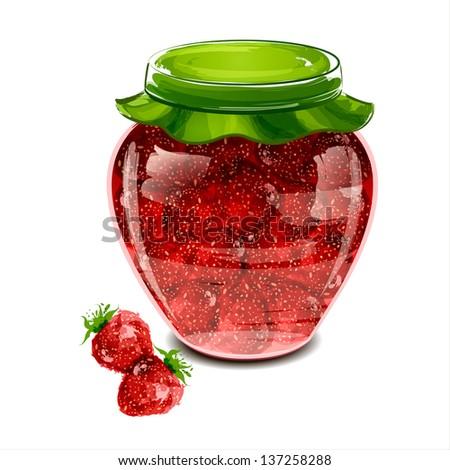 Jar of strawberry jam. Vector illustration - stock vector