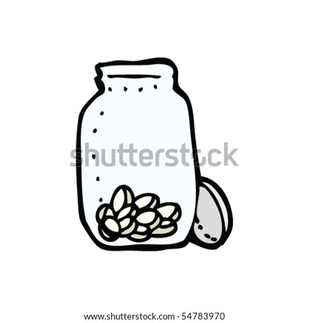 jar of tablets drawing - stock vector