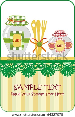 jar with fruit - stock vector