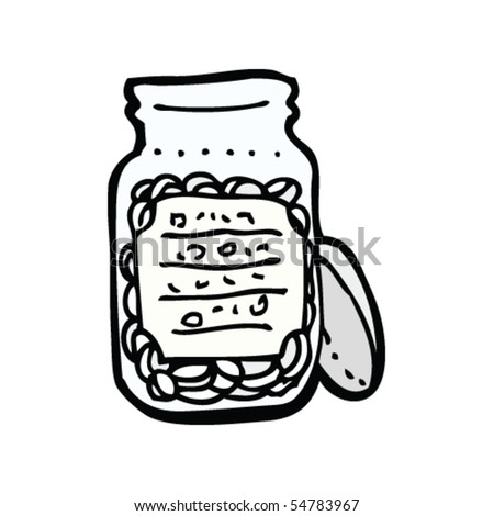 jar with label drawing - stock vector