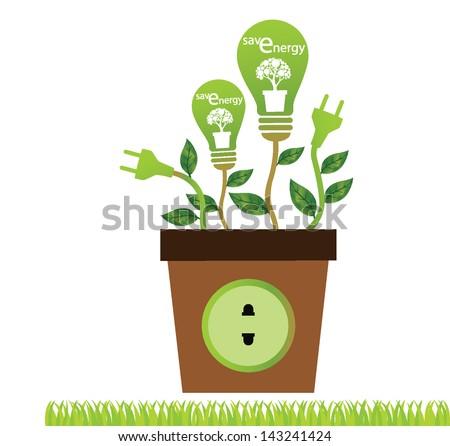 Jardiniere. Plug socket. Green concepts save energy. Save world vector illustration. - stock vector