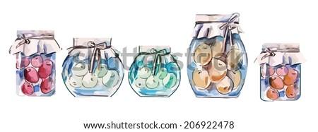 Jars with Berry Jam - stock vector