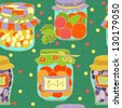 Jars with vegetables and fruits-vector seamless pattern - stock vector
