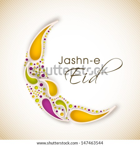 Jashn E Eid (Celebration of festival Eid) text with floral decorated moon on  abstract background.  - stock vector