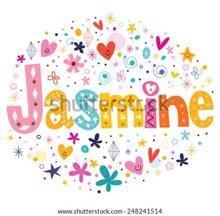 Jasmine girls name decorative lettering type design - stock vector