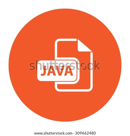 JAVA development file format. Flat white symbol in the orange circle. Vector illustration icon - stock vector
