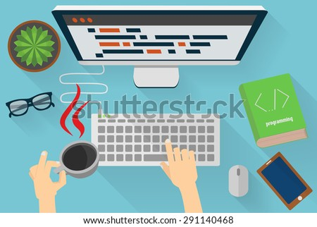 Java programmers workplace - stock vector