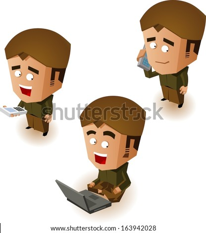 Javanese people online. Vector illustration - stock vector