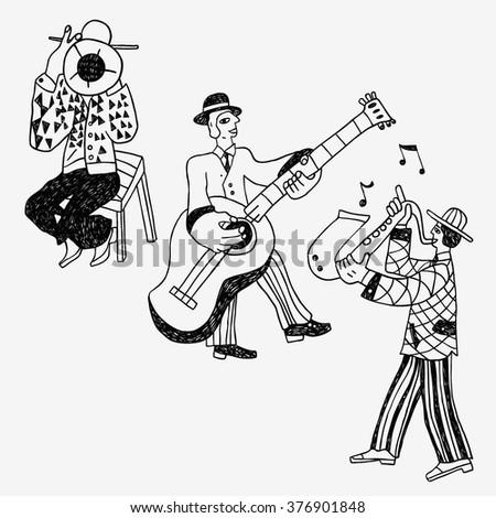 jazz band doodles - stock vector