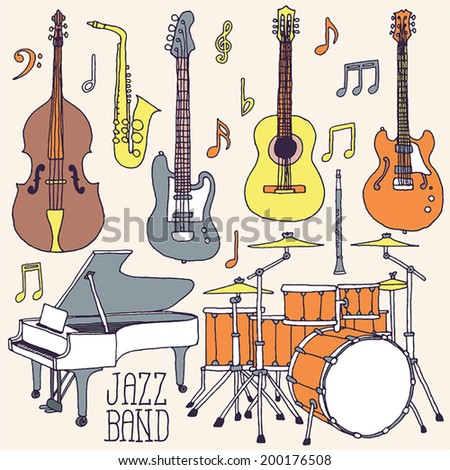 Jazz band music instruments hand drawn set. Vector illustration.  - stock vector