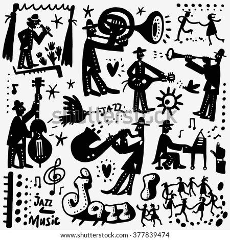 jazz band , music party  doodles set