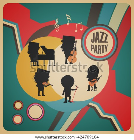 jazz band poster, retro vintage style - stock vector