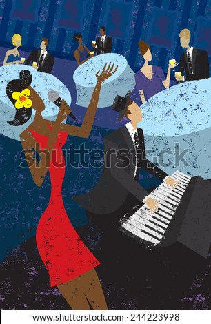 Jazz Club A jazz club singer with a piano player and couples sitting at tables drinking wine.  - stock vector